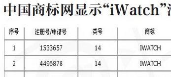 中国でのiwatch商標